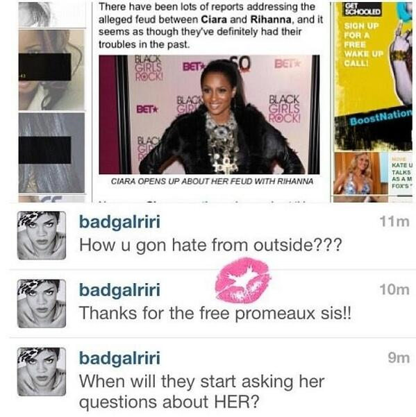 rihanna ciara instagram diss that grape juice Ciara Responds To New Rihanna Jab: This Is Getting Out Of Hand