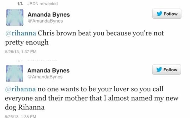 Screen shot 2013 05 26 at 5.05.50 PM Actress Amanda Bynes Slams Rihanna On Twitter:  Chris Brown Beat You Because Youre Not Pretty Enough