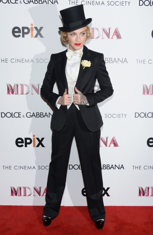 madonna mdna screening 3 e1371641643640 Hot Shots: Madonna Suits Up At MDNA Tour Screening