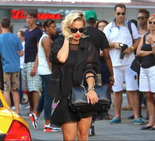 rita ora dkny that grape juice Watch: Rita Ora Shoots For DKNY In NYC