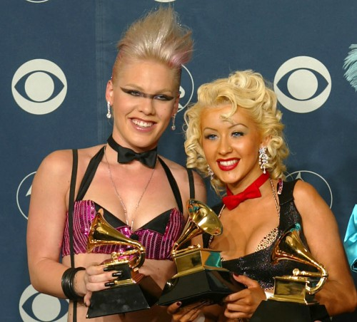 Foto på Christina Aguilera & hennes vän P!nk