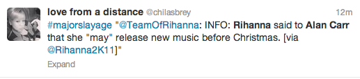 Screen Shot 2013 09 11 at 16.46.54 Report: Rihanna Teases New Music During Alan Carr Taping / Hits The Studio With Elijah Blake