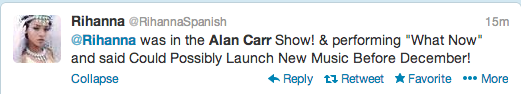 Screen Shot 2013 09 11 at 16.47.04 Report: Rihanna Teases New Music During Alan Carr Taping / Hits The Studio With Elijah Blake
