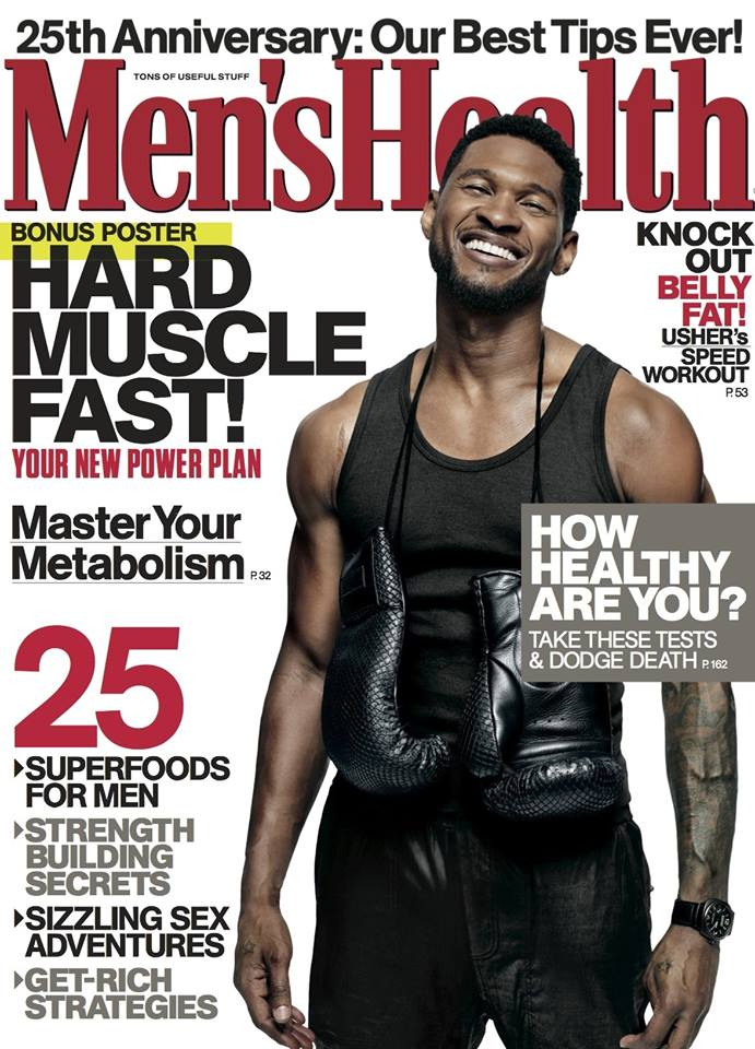 ushmensh2ealth Hot Shots:  Usher Steams Up Mens Health 25th Anniversary Issue