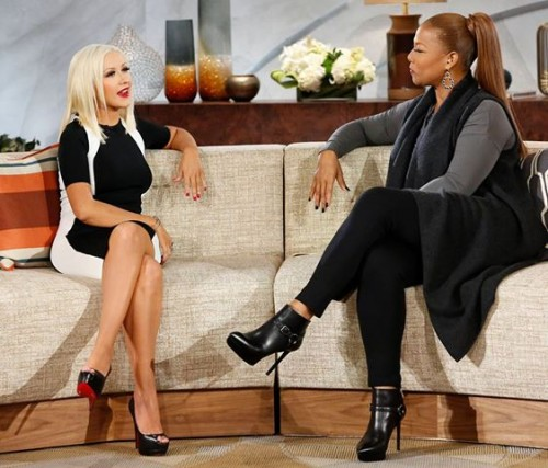 xtina latifah e1381771820802 Watch: Christina Aguilera Visits The Queen Latifah Show {Full Interview}