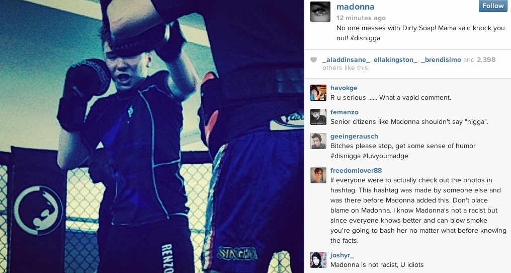 madonna nigga that grape juice Madonna Sparks N Word Controversy With Instagram Comment