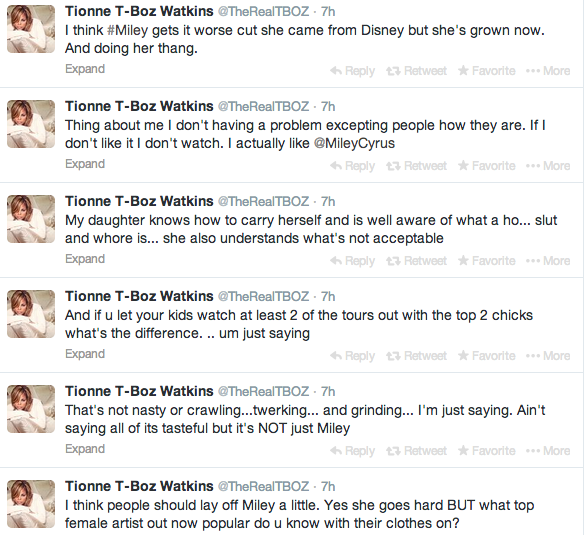 Screen shot 2014 02 23 at 7.37.55 AM Weigh In:  T Boz Suffers Twitter Attack After Indirectly Comparing Miley Cyrus To Rihanna & Beyonce
