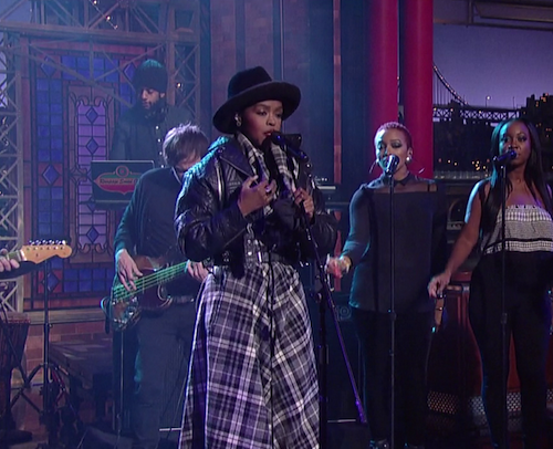 lauryn hill letterman thatgrapejuice Watch: Lauryn Hill Lights Up Letterman With Beatles Tribute