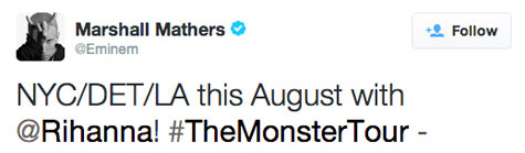 monster monster tour Eminem Announces Joint Tour With Rihanna