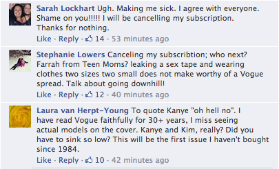Screen Shot 2014 03 21 at 20.06.29 Oh No! Vogue Readers Slam Kim Kardashian & Kanye West Cover / Threaten To Cancel Subscriptions
