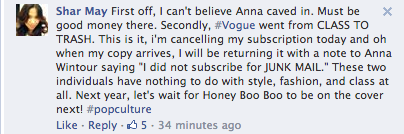 Screen Shot 2014 03 21 at 20.14.59 Oh No! Vogue Readers Slam Kim Kardashian & Kanye West Cover / Threaten To Cancel Subscriptions
