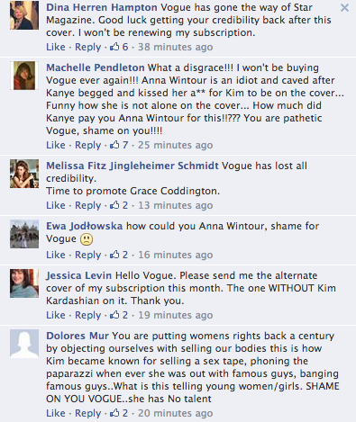 Screen Shot 2014 03 21 at 20.19.36 Oh No! Vogue Readers Slam Kim Kardashian & Kanye West Cover / Threaten To Cancel Subscriptions