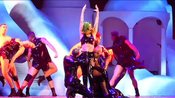 ladygaga that grape juice 45 600x336 Watch: Lady GaGa Performs Sexxx Dreams Live At The artRave: ARTPOP Ball