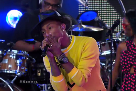 pharrell jimmy kimmel live that grape juicejpg Watch: Pharrell Williams Takes Marilyn Monroe To Jimmy Kimmel Live