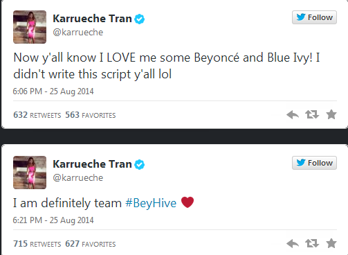 karrueche tran thatgrapejuice tweets Did You Miss It?:  Karrueche Tran Under #Beyhive Attack For Mocking Blue Ivys Hair