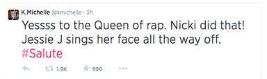 kmichelletweet1 Did You Miss It?:  K. Michelle Crowns Nicki Minaj Queen of Rap / Lil Kim Responds
