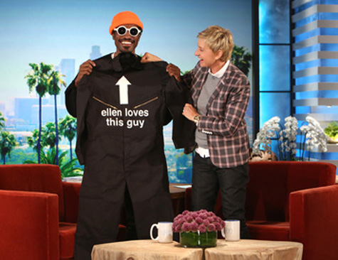 andre 3000 ellen that grape juicejpg Andre 3000 Catches Up With Ellen / Talks Outkast Reunion And Jimi Hendrix Biopic