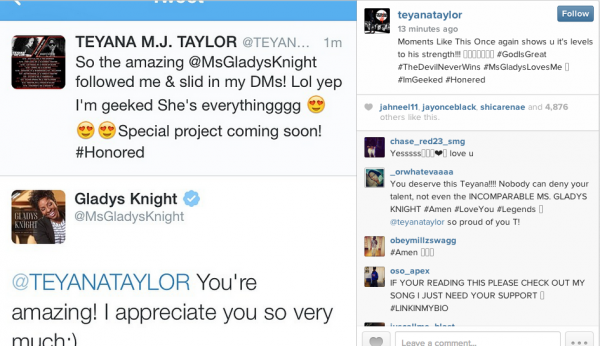 teyana taylor gladys knight that grape juice 600x346 Teyana Taylor Teases Collaboration With...Gladys Knight