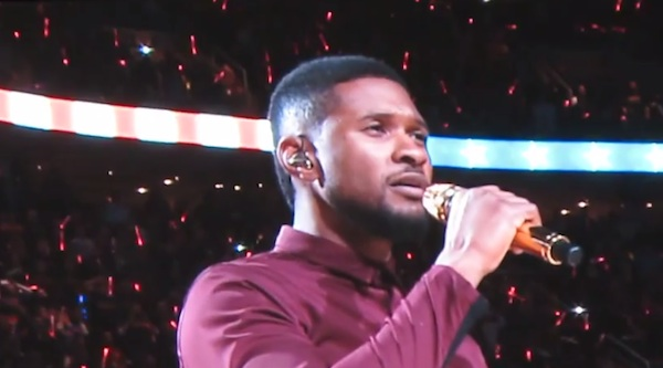 usher national anthem lebron thatgrapejuice Watch: Usher Performs US National Anthem At Lebron James Cavaliers Homecoming