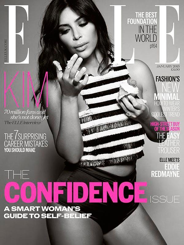 kim kardashian elle thatgrapejuice 2 Shocker: Kim Kardashian Covers Elle...Clothed