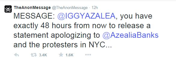 anon v. iggy1 Weigh In:  Should Iggy Azalea Ignore Famed Hackers Threatening To Expose Her?