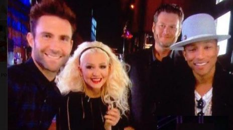 First Look: Christina Aguilera Beams With Pharrell & Fellow Coaches In Cast Pic From 'The Voice' Season 8