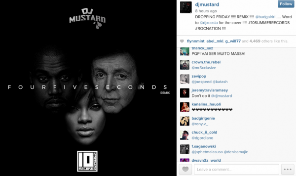 DJ Mustard To Remix Rihanna's 'FourFiveSeconds' After Song