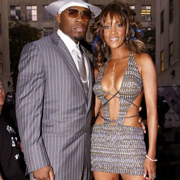 NEW YORK - AUGUST 28:  50 Cent (L) and Vivica A. Fox during the pre-show interviews  on the MTV News Platform at the 2003 MTV Video Music Awards at Radio City Music Hall on August 28, 2003 in New York City.  (Photo by Mark Mainz/Getty Images)