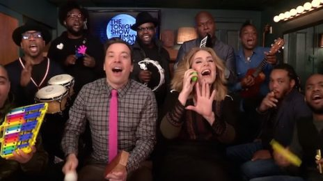Must See: Adele Performs 'Hello' On 'Fallon' With The Roots / Uses Classroom Instruments