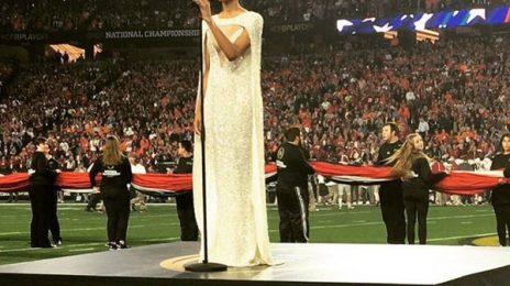 Ciara Belts US National Anthem At NCAA Football Match