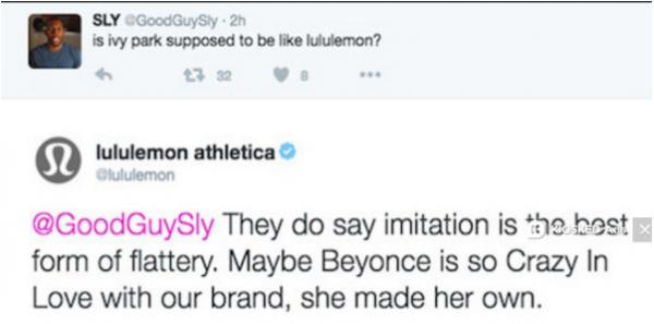 beyonce ivy park thatgrapejuice Lululemon tweet