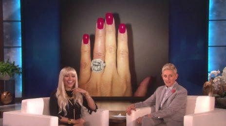 Watch: Nicki Minaj Hits 'Ellen' / Spills On 'Barbershop 3' & Meek Mill Engagement