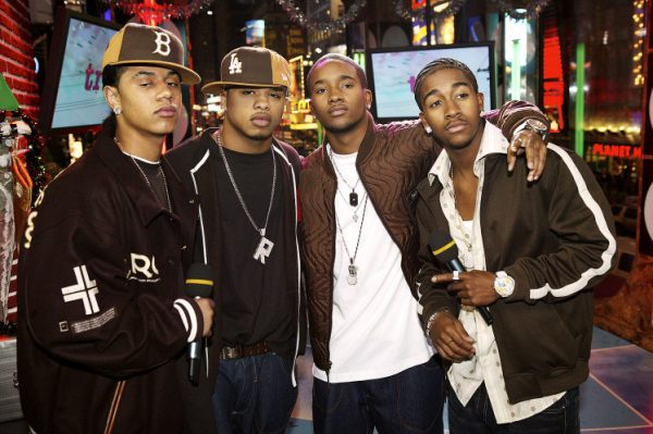 B2K appear on stage during MTV's Total Request Live