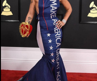 Singer Causes Stir With Pro-Trump 'Make America Great Again' Dress at 2017 Grammys