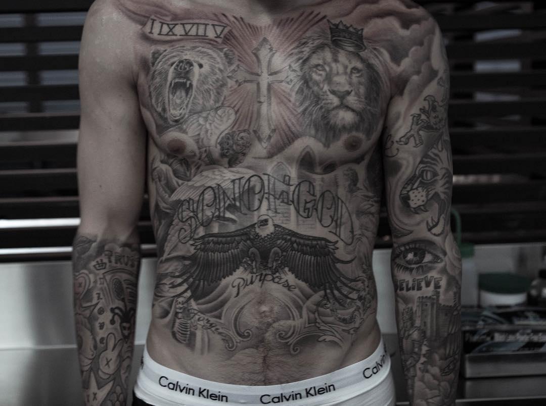 Busta Rhymes Back Tattoos