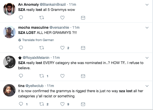 Grammys: Twitter Erupts After SZA Snubbed In Every Category She Was
