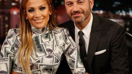 Jennifer Lopez Hits 'Kimmel' / Celebrates 100th Vegas Show & Dishes On 'Dinero'