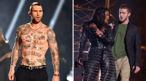 Janet Jackson Supporters Complain To FCC About Adam Levine's Nipple Baring Super Bowl Performance