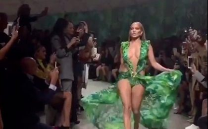 Jennifer Lopez Storms Versace Milan Show In Iconic Green Dress [Video]