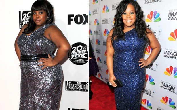 8832a8fa85912ef2166b45ef74ce87b4 Glees Amber Riley Drops Two Dress Sizes; Flaunts Slimmer Figure