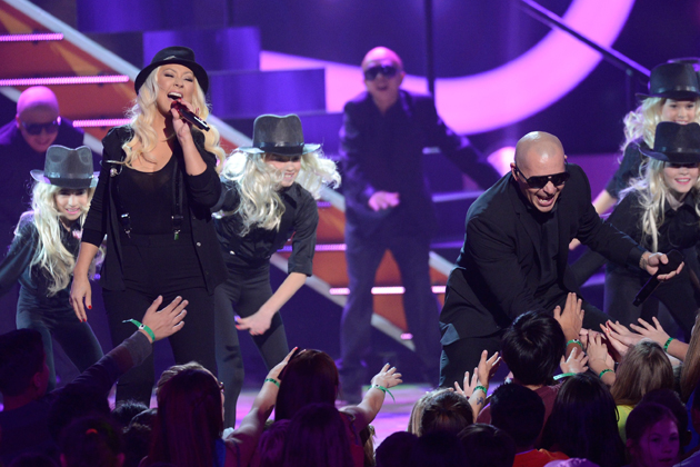 e15a1673f32e1130b10cef64a7fb58c8 Watch:  Pitbull & Christina Aguilera Open Kids Choice Awards With Feel This Moment Live